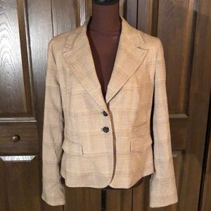 Michael Kors brown plaid blazer 14
